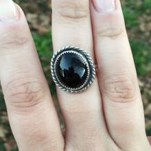 Oval Black Onyx Gemstone Sterling Silver Ring
