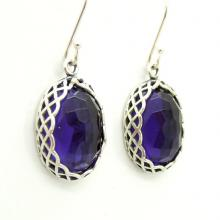 Oval purple quartz silver and gemstone earrings