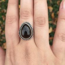 Pear Shaped Smokey Quartz Gemstone Ring