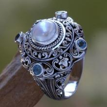 Pearl and Blue Topaz Cocktail RIng