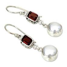 Pearl and Garnet Sterling Silver Earrings, 'Pure Passion'.