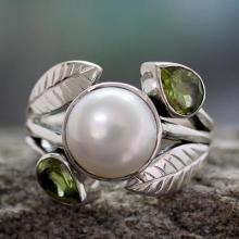 Pearl and Peridot Cocktail Ring