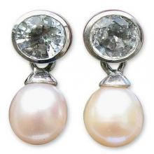 Pearl and Topaz Drop Earrings, 'Halo Light'