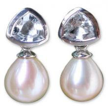 Pearl and Topaz Earrings from Thailand, 'Sweet Soul'