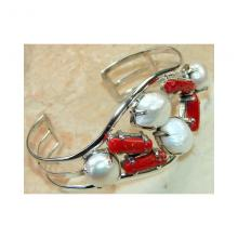 Pearl, Red Coral Bangle 925 Sterling Silver