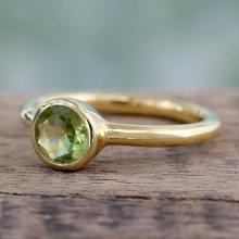 Peridot Solitaire Ring in Gold Vermeil from India Jewelry, 'Verdant Nature'