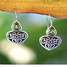 Peridot Sterling Silver Heart Shaped Earrings, 'Heart's Desire'