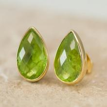 Peridot Studs - August Birthstone Earrings - Post Earrings - Silver Stud Gemstone Earrings - Tear drop Studs