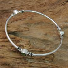 Peridot and Silver 925 Bangle Bracelet (large)