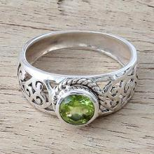 Peridot and Sterling Silver  Ring with Paisley Design