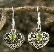 Peridot and Sterling Silver Earrings Heart Jewelry, 'Love's Magic'