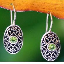 Peridot drop earrings, 'Desire