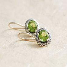 Peridot earrings , gemstone dangle earrings , green gemstone earrings