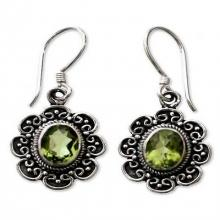 Peridot floral earrings, 'Bright Blossom'