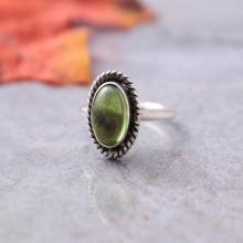 Peridot ring - Olive green ring - Bezel Ring - Gemstone Ring - August birthstone