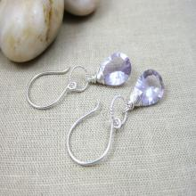 Pink Amethyst Dangle Earrings Sterling Silver Gemstone Earrings February Birthstone Lilac Lavender Bride Earrings Minimalist Earrings - Mist
