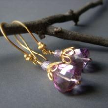 Pink Amethyst Earrings, Gold Vermeil, Quartz Gemstone Trillion Dangle Earrings, Sparkle Lavender Earrings