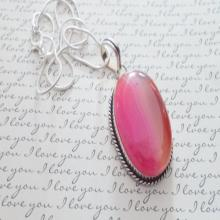 Pink Lace Agate Pendant Necklace, Gifts for Her, Pendant Necklace