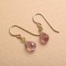 Pink Tourmaline Gold Earrings, Gemstone Drop Earrings, Pink Green Gemstone Earrings, Healing Gemstone Jewelry
