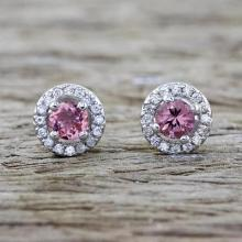 Pink Tourmaline and Cubic Zirconia Stud Earrings