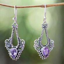 Pisces Amethyst Birthstone on Sterling Silver Hook Earrings, 'Balinese Glitz'