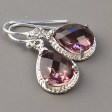 Plum Bridesmaid Jewelry SET OF 3 - 5% OFF Silver Eggplant Glass Drop Earrings - Plum Bridesmaid Earrings - Wedding Jewelry - Bridal Jewelry