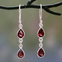 Polished Silver Dangle Earrings with Pear Shaped Garnets, 'Mystical Femme'
