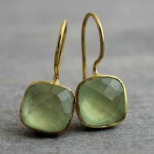 Prehnite Cushion Cut Earrings- Christmas Gift for Her - Gold Earrings - Wedding- Bridal- Bridesmaid Friendship Gemstone Earrings