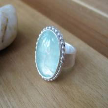 Prehnite Ring Sterling Silver Cocktail Ring Green Gemstone Ring Statement Ring Minimalist Jewelry Minimalist Ring - Seafoam