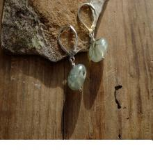 Prehnite and epidote earrings, gemstone earrings, leverback hooks with gemstones, moss green and dark green combined with sterling silver