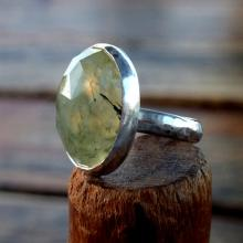 Prehnite ring, Faceted Rose Cut Prehnite Stone, Prehnite with epidote ring, Cocktail ring, Statement ring