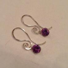 Purple Amethyst Drop Earrings with Sterling Silver swirl ear wire  Purple Amethyst and Silver Bridesmaid Earrings
