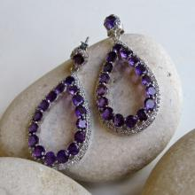 Purple Amethyst Earrings- Amethyst Earrings- Statement Earrings- Purple Stone Earring- Chunky Earrings- Gemstone Earring