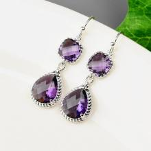 Purple Bridesmaid Earrings SET OF 4 - 8% OFF Bridesmaid Jewelry Set - Amethyst Earrings - Silver Glass Drop Earrings - Crystal Earrings