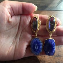 Purple Glass and Blue Agate Earrings Statement Earrings Natural Gemstone Earrings Gold Earrings