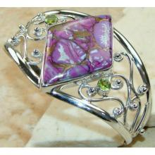 Purple Turquoise, Peridot Faceted Bangle 925 Sterling Silver