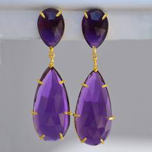 Purple amethyst earrings - Double Drop Earrings - February Birthstone earrings - long earrings - gemstone earrings, prong set earrings