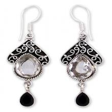 Quartz and Onyx Silver Dangle Earrings, 'Queen of Jaipur'
