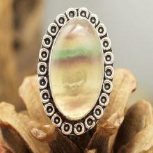 Rainbow Fluorite Ring Sz 7, Silver Fluorite Ring, Crystal Ring, Gemstone Ring, Stone Ring, Cocktail Ring, Boho Ring