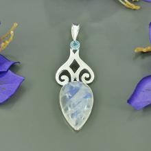 Rainbow Moonstone & Blue Topaz Gemstone Pendant - Bezel Artisan Gemstone Pendant - Solid Sterling Silver Pendant - Handmade Pendant Jewelry