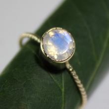 Rainbow Moonstone 14K Gold Ring, Gemstone Ring, Stacking RIng
