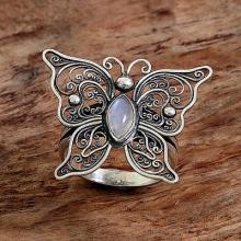 Rainbow Moonstone ButterflyRing