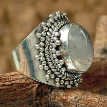 Rainbow Moonstone Cocktail Ring Silver