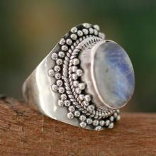 Rainbow Moonstone Cocktail Ring from India Sterling Silver, 'Radiant Moon'