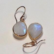 Rainbow Moonstone Earrings BIG Genuine Moonstone Gemstone Earrings STATEMENT Rainbow Moonstone 14KT Earrings Weddings