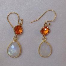 Rainbow Moonstone Earrings Gold Fire Opal & Milky White Bridesmaid Earrings Bridal Wedding Gemstone Earrings