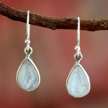 Rainbow Moonstone Earrings India Sterling Silver Jewelry, 'Luminous Light