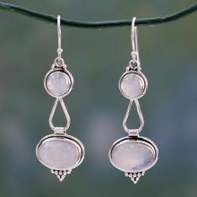 Rainbow Moonstone Earrings Sterling Silver Handmade, 'Goddesses