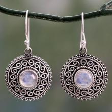 Rainbow Moonstone Earrings with Oxidized Silver Accents, 'Moonlight Mandala'