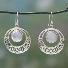 Rainbow Moonstone Indian Earrings Sterling Silver Jewelry, 'Classic Romance'